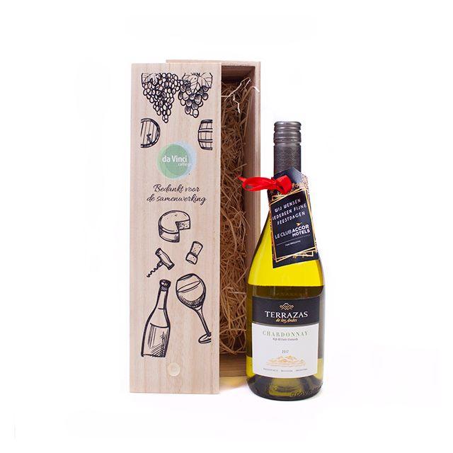 Terrazas Chardonnay High Altitude 2017 in houten kist met bedrukking & persoonlijk kaartje
