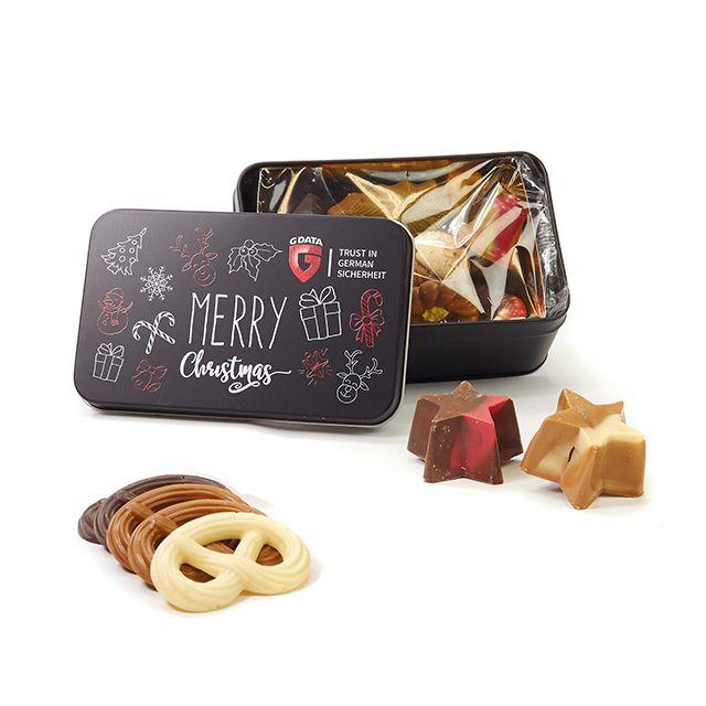 Geschenkblik met Kerstchocolade