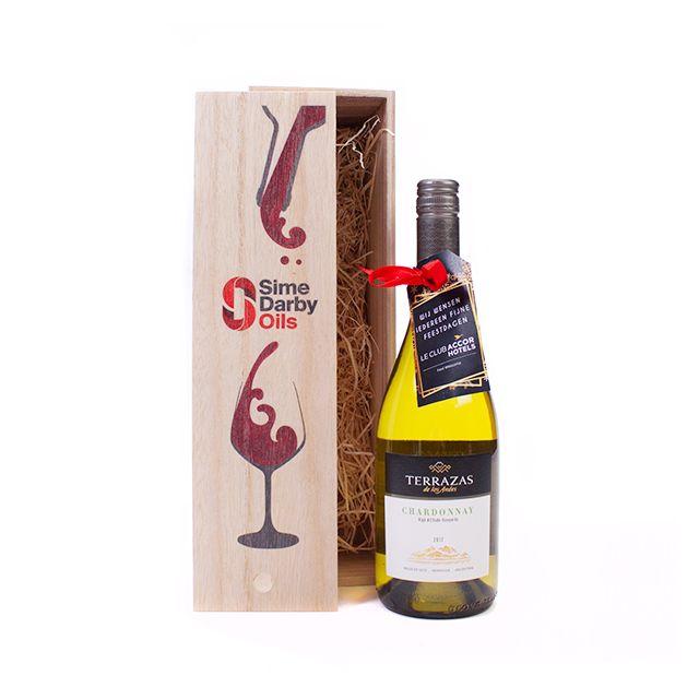 Chardonnay in houten kistje
