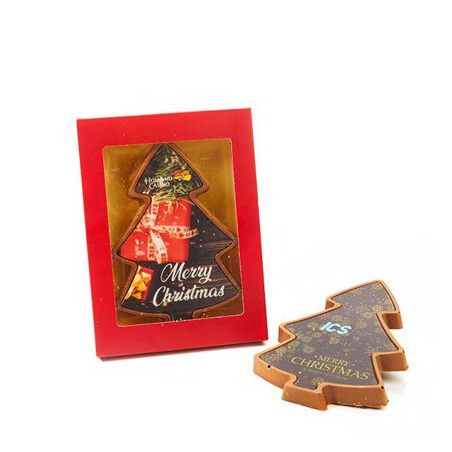 Chocolade kerstboom met bedrukking