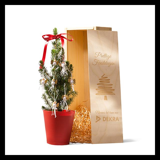 Kerstboompje voor op het bureau in geschenkkist