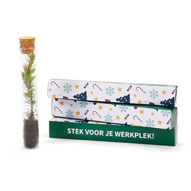 Stek voor je werkplek - Kerstboom in glazen tube