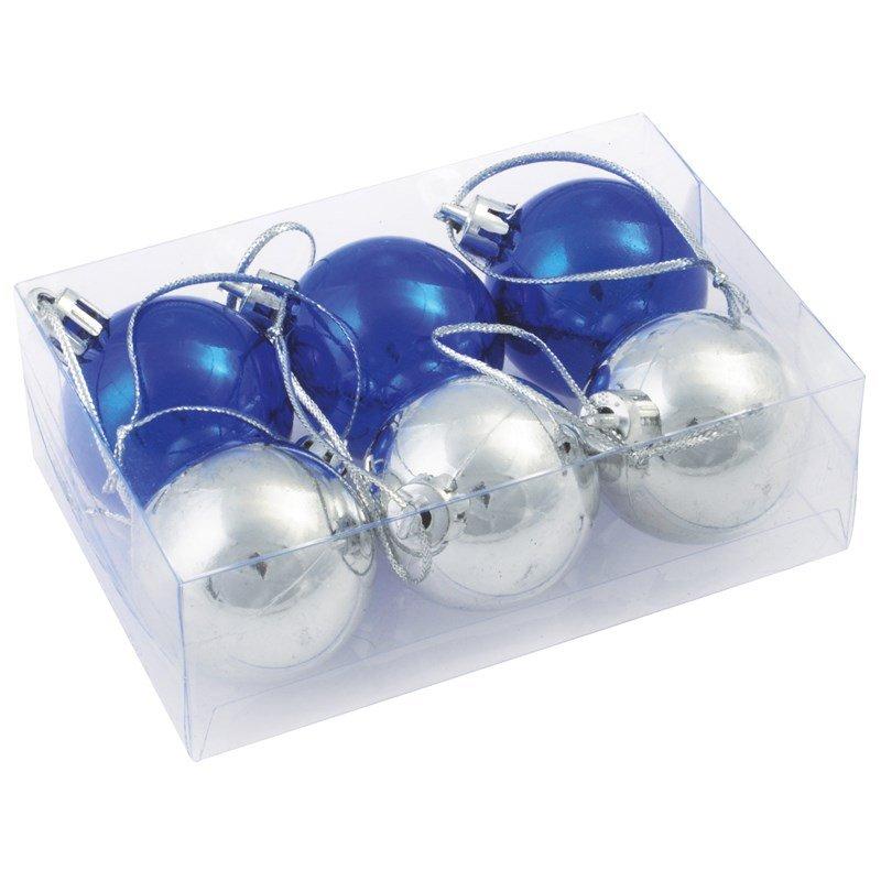 Kerstballen zilver blauw